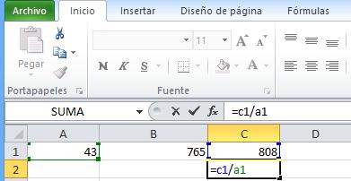 formula de division en Excel