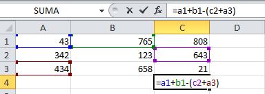 formula de operacion combinada en Excel