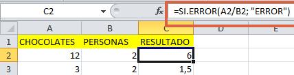formula sierror en Excel