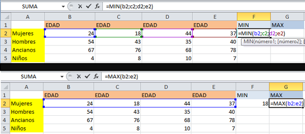 formulas MIN y MAX en Excel