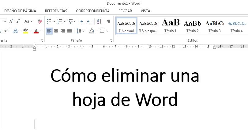 como eliminar una hoja en word