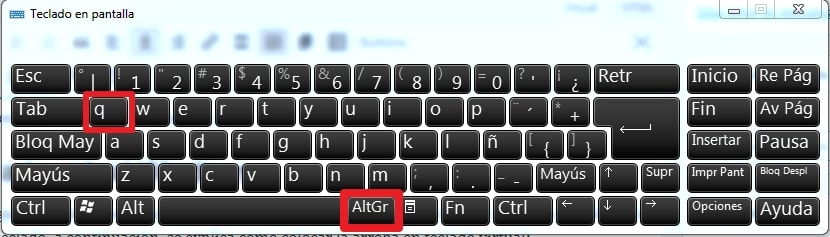teclado virtual arroba