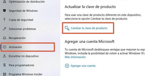 Cómo activar Windows 10 mediantes claves de productos paso 3