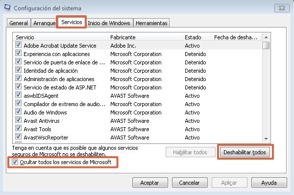 Deshabilitar aplicaciones de inicio automático en Windows 7 paso 2