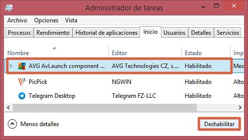 Deshabilitar aplicaciones de inicio automático en Windows 8 y 10 paso 2