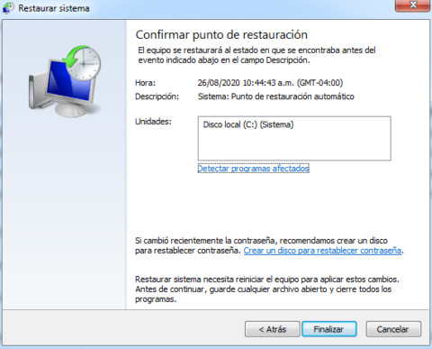 Restaurar el sistema en windows