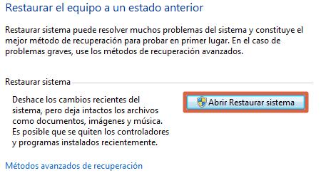 Restaurar Windows para solucionar error AutoIt paso 3