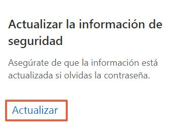 Actualizar la información de seguridad de un correo Hotmail Outlook paso 1