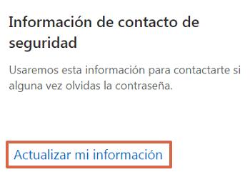 Actualizar la información de seguridad de un correo Hotmail Outlook paso 2