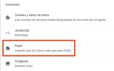 Cómo activar Adobe Flash Player en Google Chrome desde el menú de ajustes paso 5
