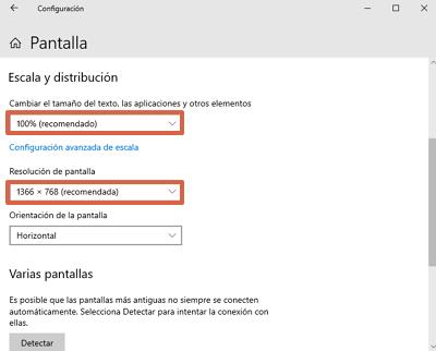 Cómo aumentar o reducir el tamaño de la pantalla de la PC desde las configuraciones de Windows paso 4