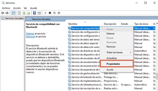 Cómo configurar los servicios de compatibilidad de Bluetooth en Windows 10 paso 2