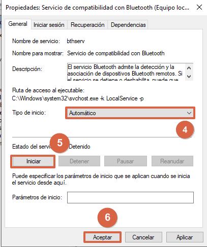 Cómo configurar los servicios de compatibilidad de Bluetooth en Windows 10 pasos 4, 5 y 6