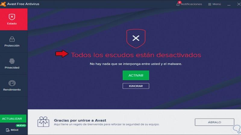 Cómo desactivar el antivirus Avast temporal o permanentemente
