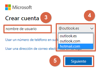 Crear un correo Hotmail Outlook pasos 3, 4 y 5