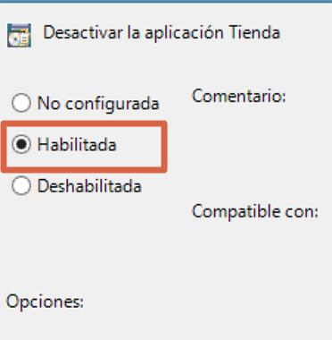 Desactivar tienda local con gpedit.msc para eliminar proceso Wsappx paso 6