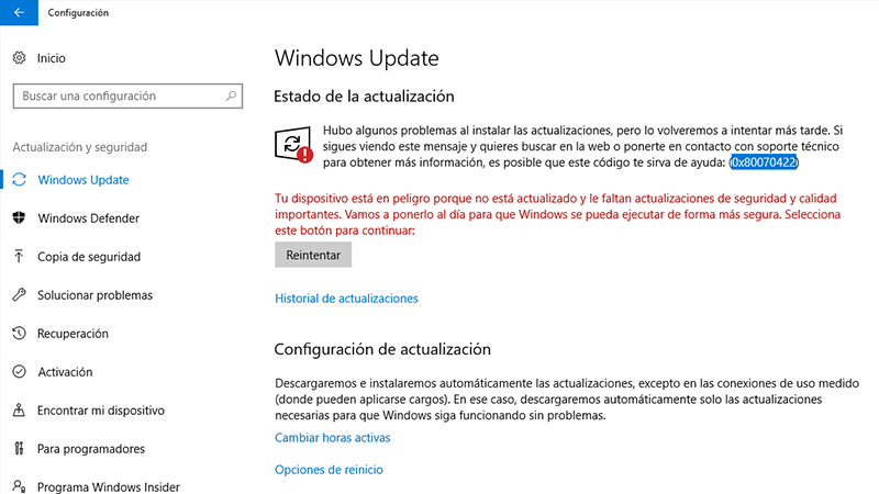 Error 0x80070422 en Windows causas y soluciones