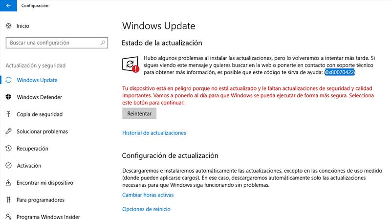 Error 0x80070422 en Windows causas y soluciones