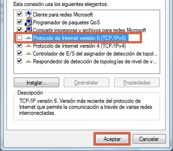 Error 0x80070422 solución desactivar conexión IPv6 paso 4