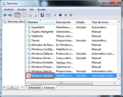 Error 0x80070422 solución restaurar Windows Update paso 2