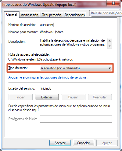 Error 0x80070422 solución restaurar Windows Update paso 3