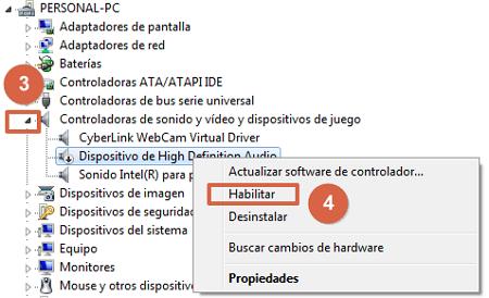 Ningún dispositivo de audio instalado en Windows solución pasos 3 y 4