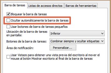 Ocultar automáticamente la barra de tareas de Windows