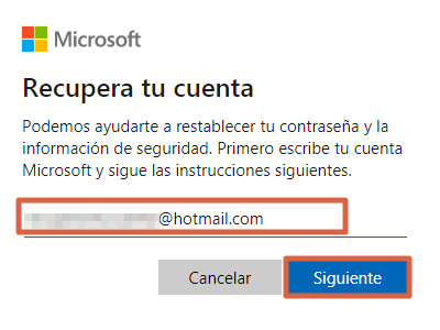 Recuperar cuenta de Hotmail restableciendo contraseña paso 1