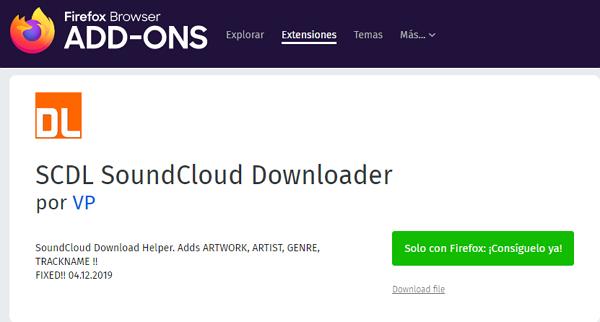 SCDL SoundCloud Downloader para Firefox