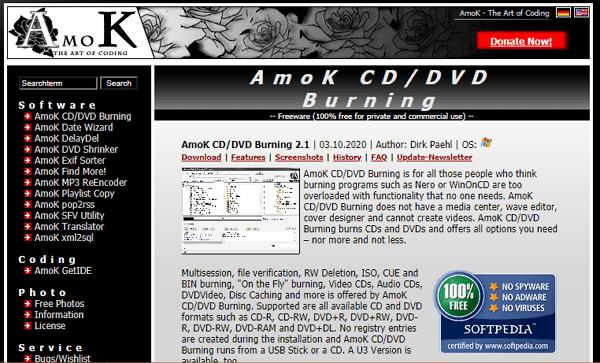 Amok CD DVD Burning