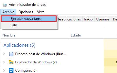Cómo abrir el panel de control en Windows 10 con el Administrador de tareas