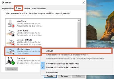 Cómo activar la mezcla estéreo en Windows paso 4