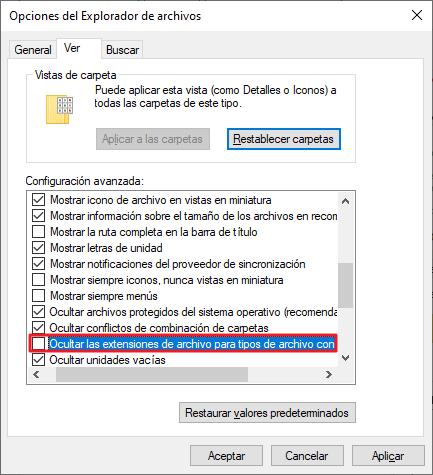 Cómo cambiar la extensión de un archivo paso 3