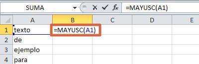 Cómo convertir textos a mayúsculas o minúsculas en Excel paso 2