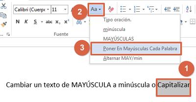 Cómo convertir textos a mayúsculas o minusculas en Word con herramienta predeterminada pasos 1, 2 y 3
