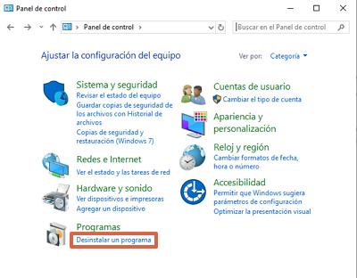 Cómo eliminar el virus Reimage PC Repair utilizando el panel de control de Windows paso 2