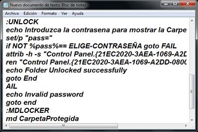 Cómo ponerle contraseña a una carpeta en Windows usando Script paso 2