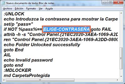 Cómo ponerle contraseña a una carpeta en Windows usando Script paso 3