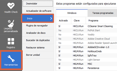 Desactivar programas de inicio automático en Windows 7 con CCleaner paso 3