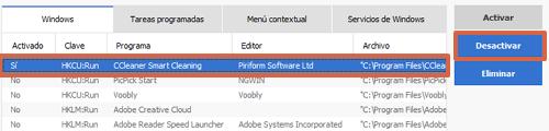 Desactivar programas de inicio automático en Windows 7 con CCleaner paso 4