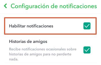 Cómo activar las notificaciones en Snapchat paso 4