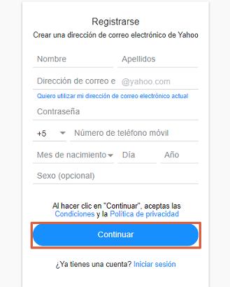 Cómo crear una cuenta de correo o registrate en Yahoo Mail gratis desde la computadora paso 3