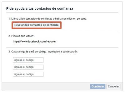 Cómo recuperar una cuenta de Facebook con amigos de confianza paso 5