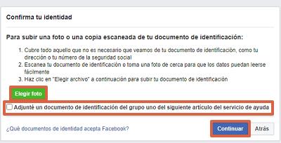 Cómo recuperar una cuenta de Facebook con documentos de identificación paso 7