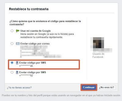 Cómo recuperar una cuenta de Facebook con el número telefónico paso 4