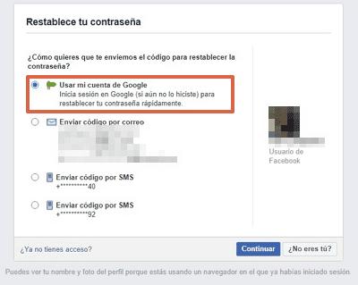 Cómo recuperar una cuenta de Facebook con una cuenta de Google paso 3