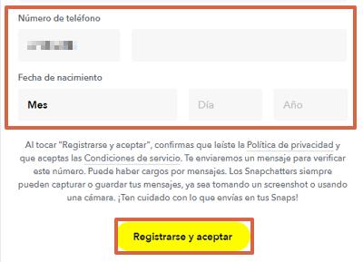 Cómo registrarte o crear una cuenta en Snapchat desde la computadora paso 3