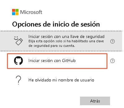 Iniciar sesión en Hotmail a través de GitHub