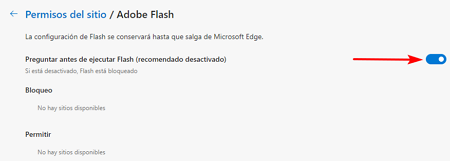 Activar Adobe Flash Player en Microsoft Edge