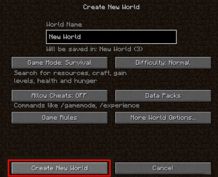Crear nuevo mundo en LAN Minecraft